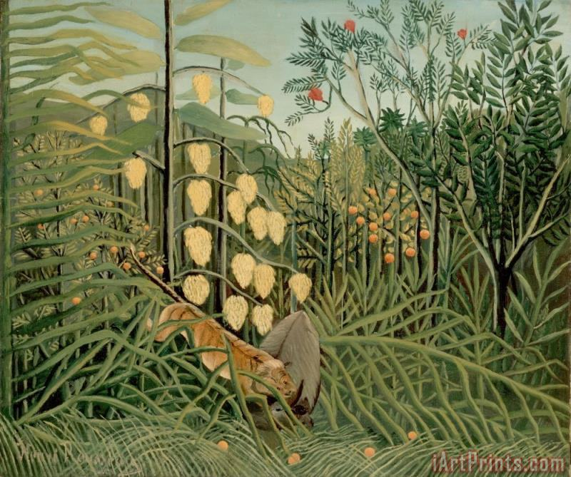 Henri Rousseau Rousseau, Henri in a Tropical Forest. Struggle Between Tiger And Bull Art Print