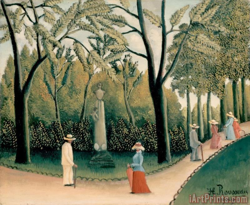 Rousseau, Henri The Luxembourg Gardens. Monument to Shopin painting - Henri Rousseau Rousseau, Henri The Luxembourg Gardens. Monument to Shopin Art Print