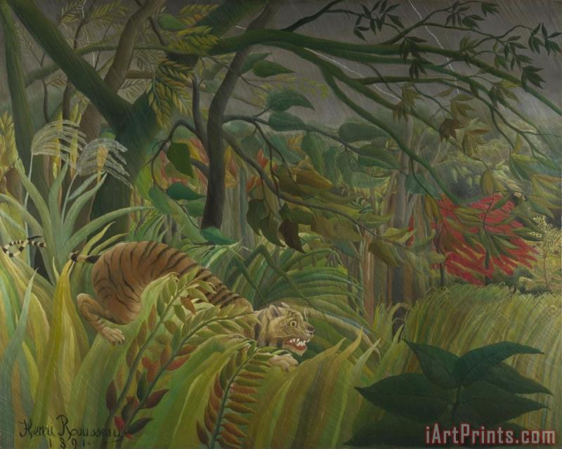 Surprise painting - Henri Rousseau Surprise Art Print