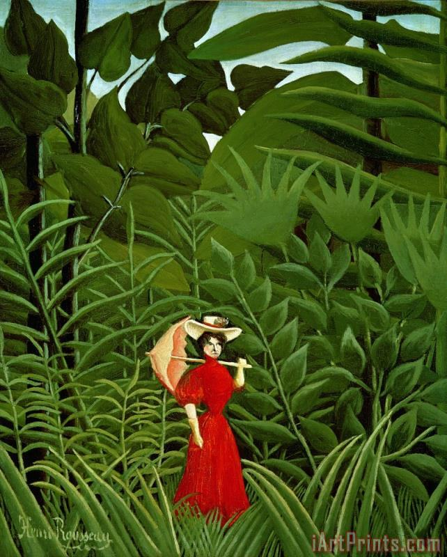 Henri Rousseau Woman In Red In The Forest Art Print