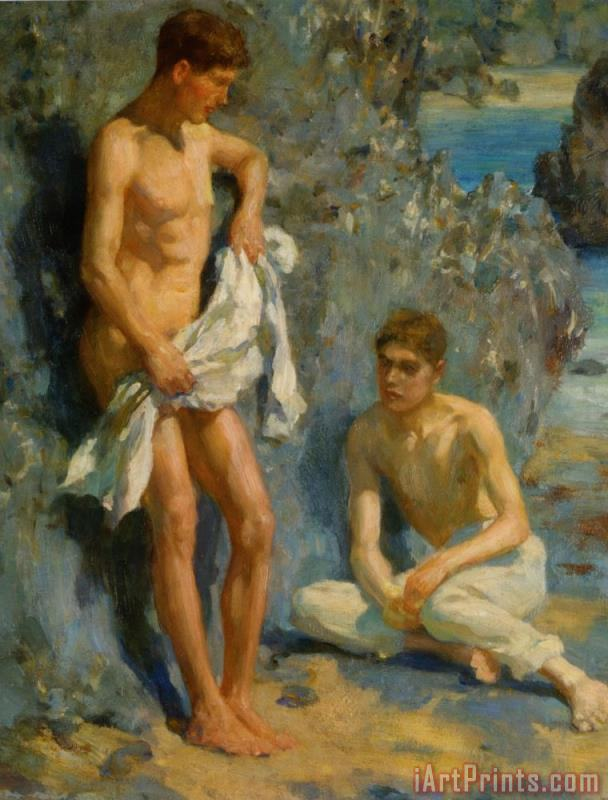 After The Bath painting - Henry Scott Tuke After The Bath Art Print