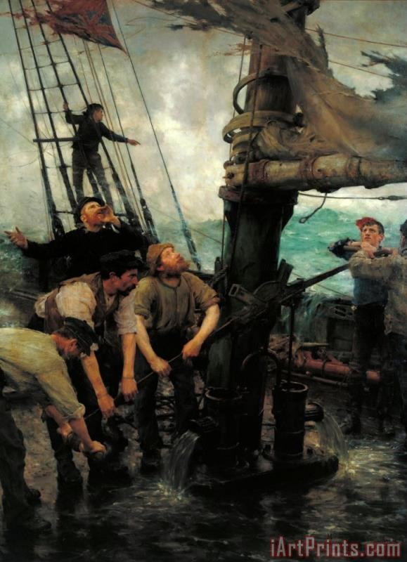 All Hands to The Pumps painting - Henry Scott Tuke All Hands to The Pumps Art Print