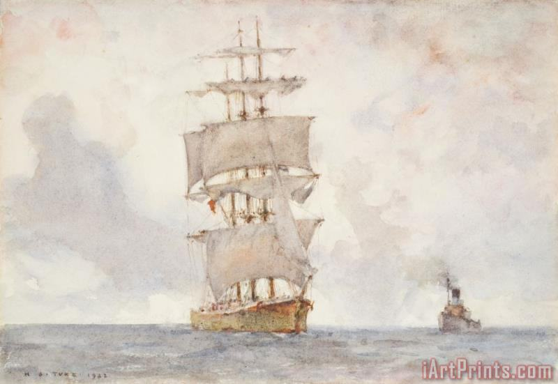 Barque and Tug painting - Henry Scott Tuke Barque and Tug Art Print