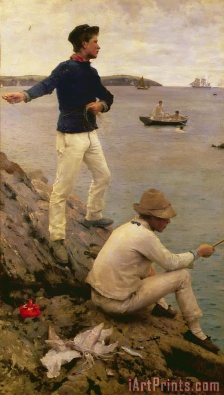 Fisher Boys Falmouth painting - Henry Scott Tuke Fisher Boys Falmouth Art Print