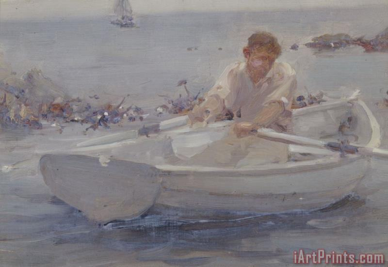 Man in a Rowing Boat painting - Henry Scott Tuke Man in a Rowing Boat Art Print
