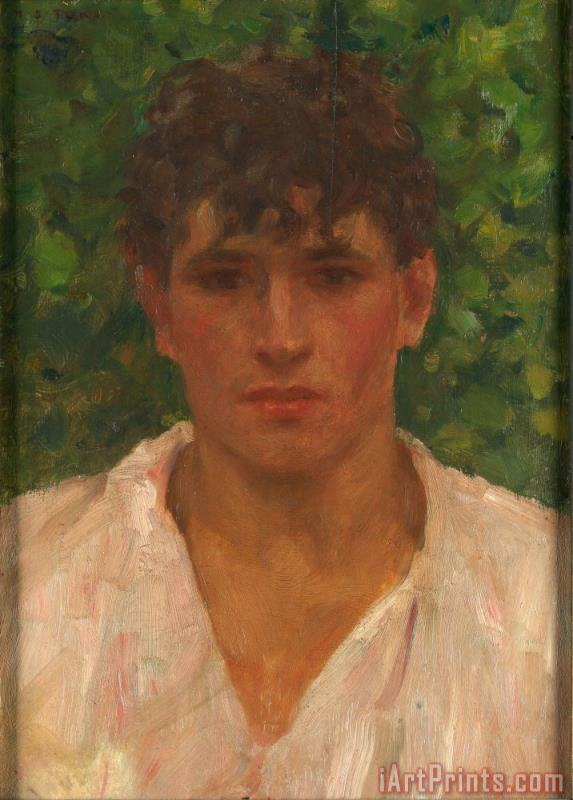 Henry Scott Tuke Portrait of a Young Man with Open Collar Art Print