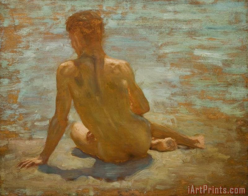 Sketch of Nude Youth Study for Morning Spelendour painting - Henry Scott Tuke Sketch of Nude Youth Study for Morning Spelendour Art Print