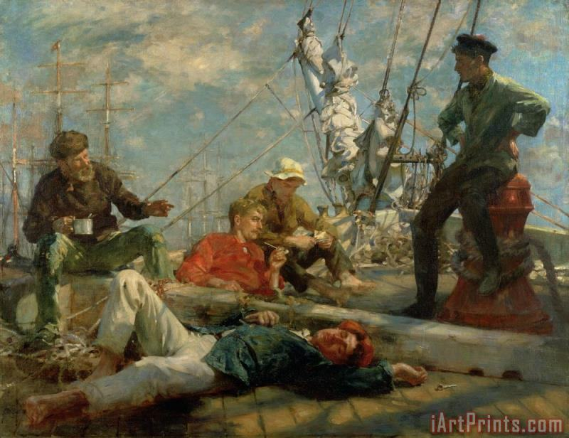 The Midday Rest Sailors Yarning painting - Henry Scott Tuke The Midday Rest Sailors Yarning Art Print