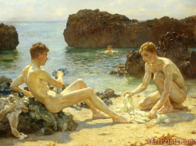 The Sun Bathers painting - Henry Scott Tuke The Sun Bathers Art Print