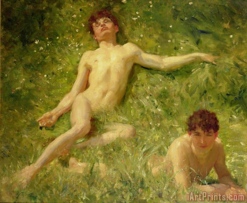 The Sunbathers painting - Henry Scott Tuke The Sunbathers Art Print