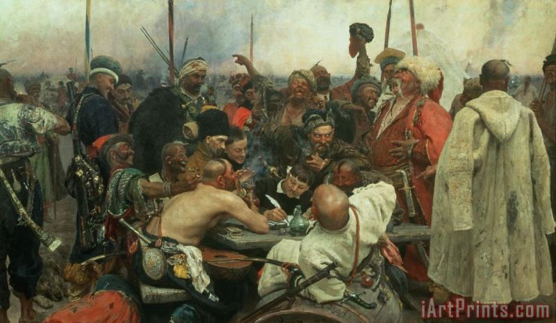 The Zaporozhye Cossacks writing a letter to the Turkish Sultan painting - Ilya Efimovich Repin The Zaporozhye Cossacks writing a letter to the Turkish Sultan Art Print