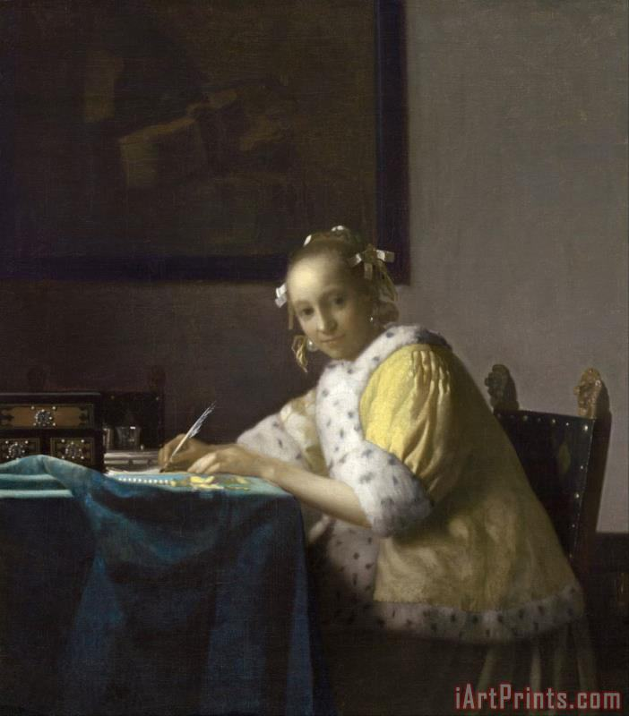 A Lady Writing painting - Jan Vermeer A Lady Writing Art Print