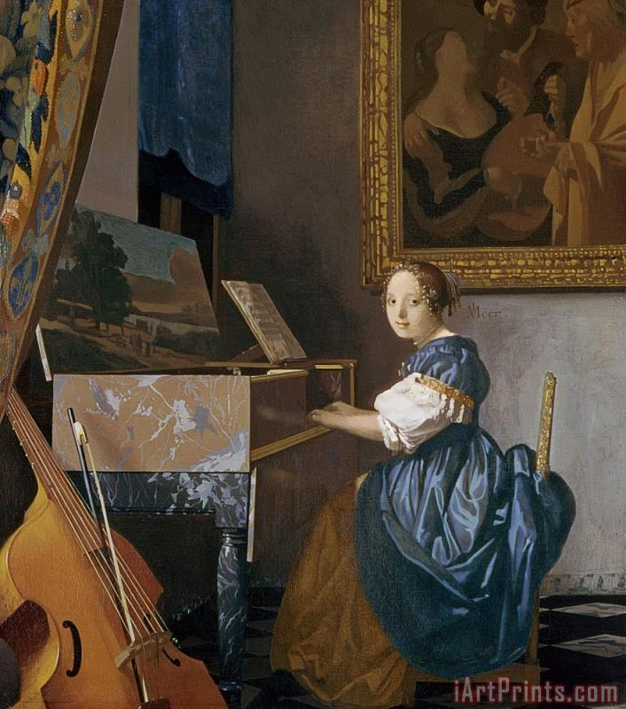 A Young Lady Seated at a Virginal painting - Jan Vermeer A Young Lady Seated at a Virginal Art Print