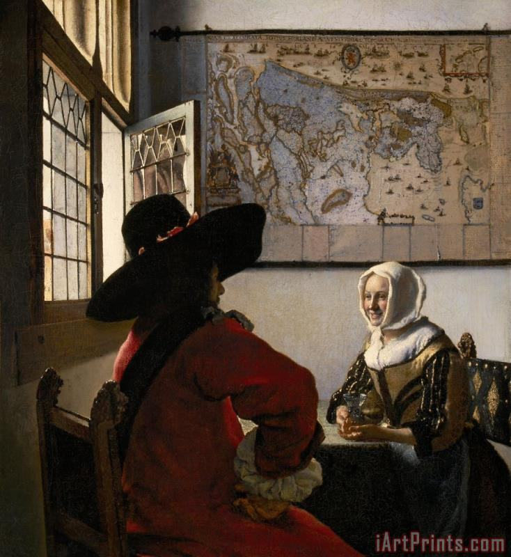 Jan Vermeer Amorous Couple Art Print