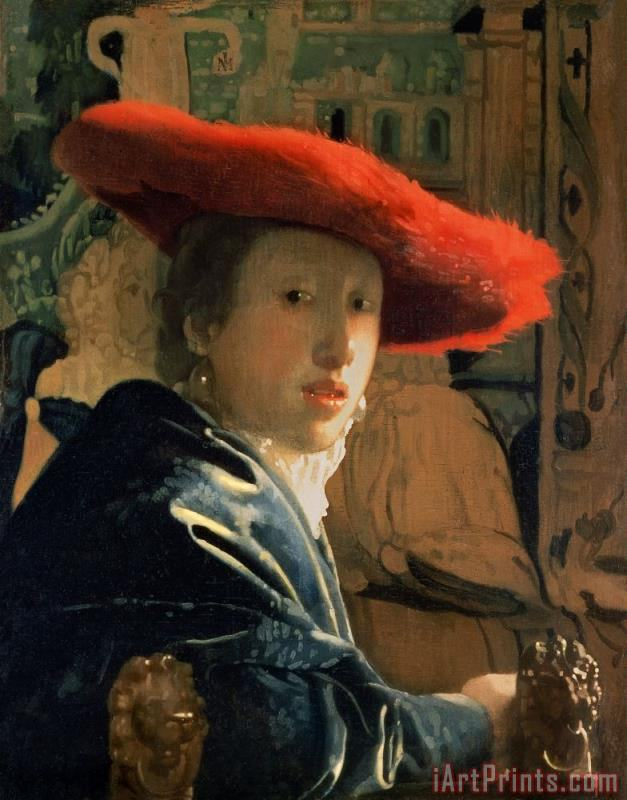 Girl with a Red Hat painting - Jan Vermeer Girl with a Red Hat Art Print