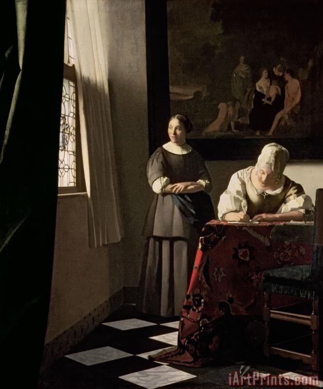 Jan Vermeer Lady writing a letter with her Maid Art Print