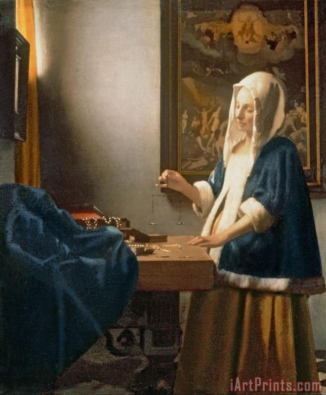 Woman Holding a Balance painting - Jan Vermeer Woman Holding a Balance Art Print