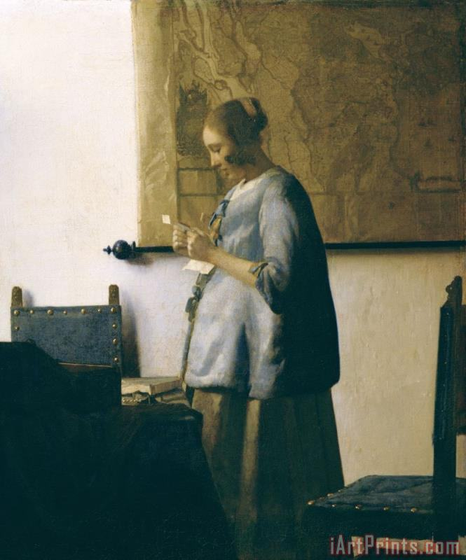 Woman Reading a Letter painting - Jan Vermeer Woman Reading a Letter Art Print