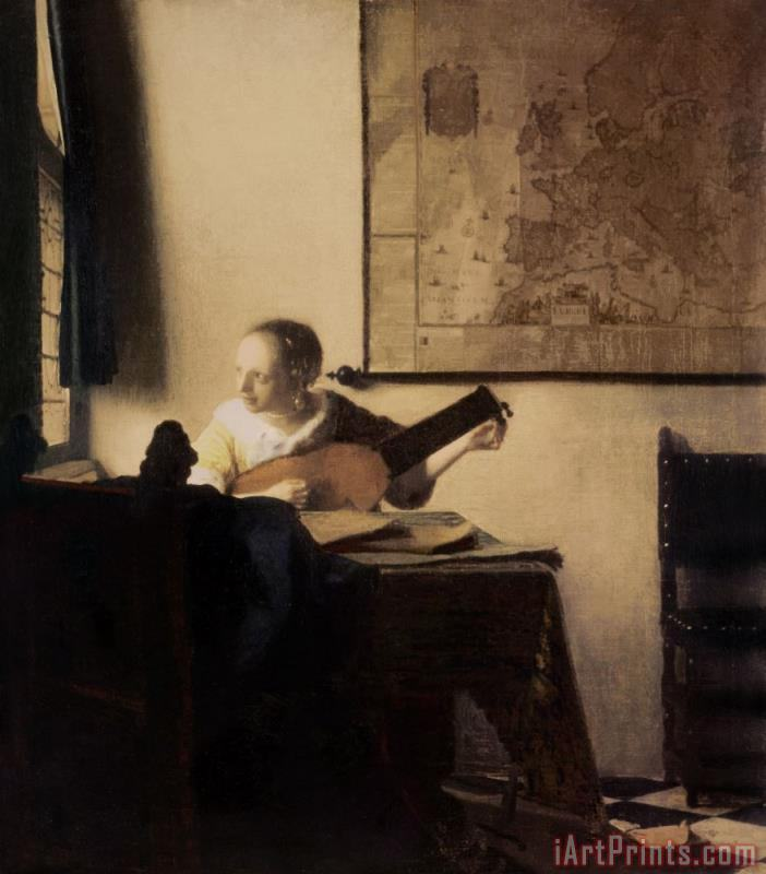 Woman with a Lute painting - Jan Vermeer Woman with a Lute Art Print
