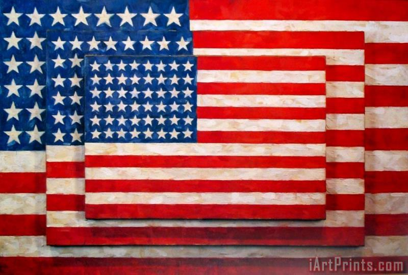 Three Flags painting - jasper johns Three Flags Art Print
