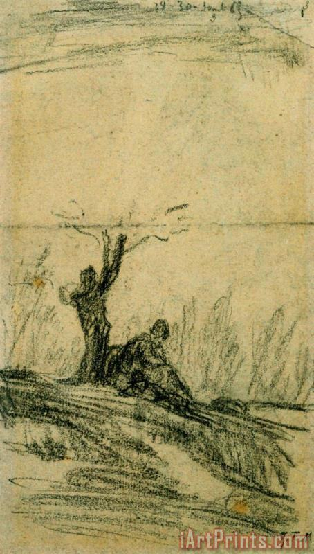 Jean-Francois Millet Figure Seated Under a Tree Art Print