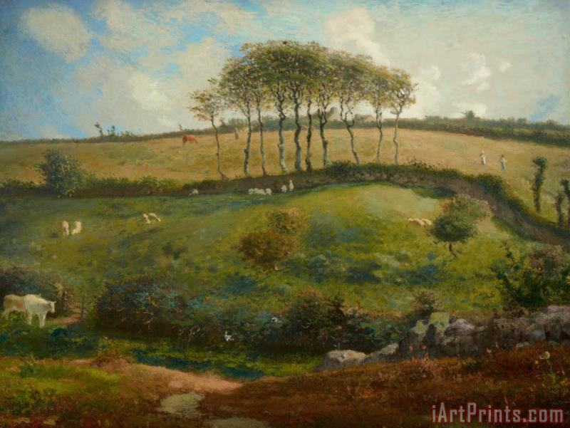 Pasture Near Cherbourg painting - Jean-Francois Millet Pasture Near Cherbourg Art Print