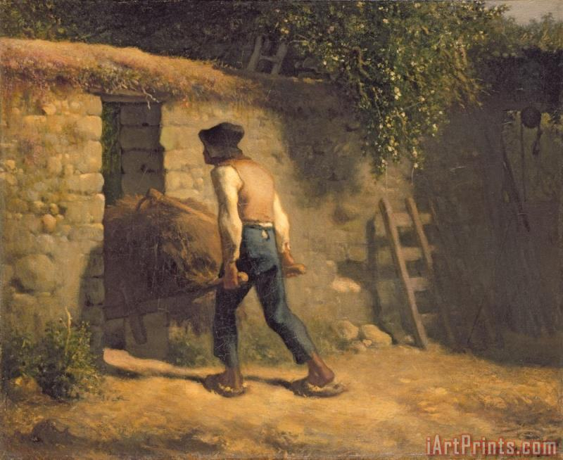 Peasant with a Wheelbarrow painting - Jean-Francois Millet Peasant with a Wheelbarrow Art Print