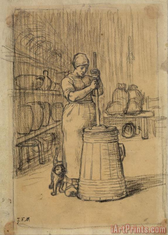 Study for Woman Churning Butter painting - Jean-Francois Millet Study for Woman Churning Butter Art Print