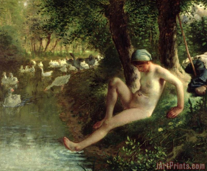 The Bather painting - Jean-Francois Millet The Bather Art Print