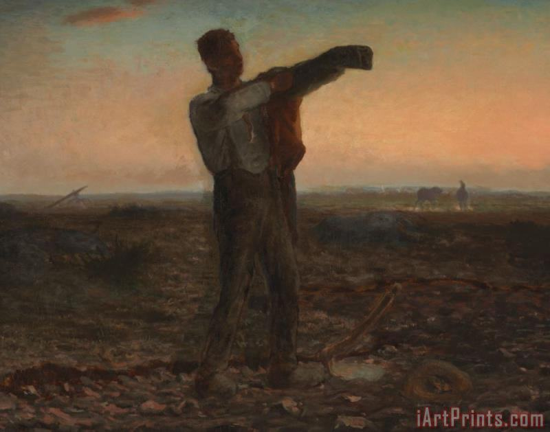 Jean-Francois Millet The End Of The Day Effect Of Evening Art Print