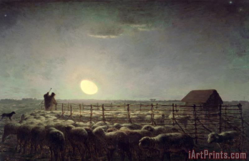 Jean-Francois Millet The Sheepfold Moonlight Art Painting