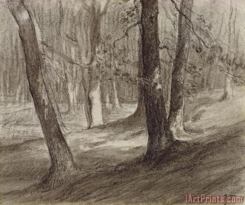 Trees In A Forest painting - Jean-Francois Millet Trees In A Forest Art Print