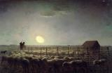 The Sheepfold Moonlight by Jean-Francois Millet