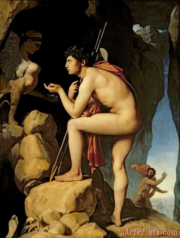 Oedipus and the Sphinx painting - Jean Auguste Dominique Ingres Oedipus and the Sphinx Art Print