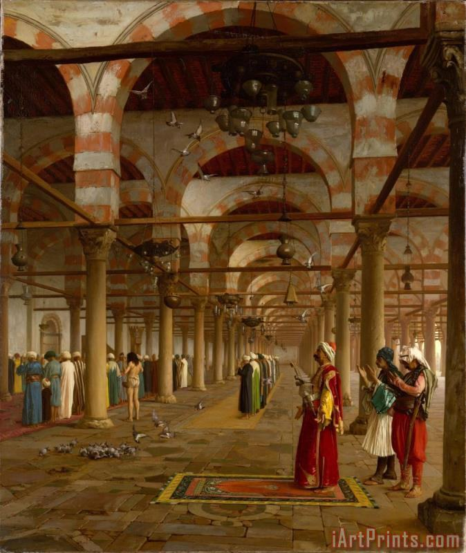 Public Prayer in The Mosque of Amr, Cairo painting - Jean Leon Gerome Public Prayer in The Mosque of Amr, Cairo Art Print