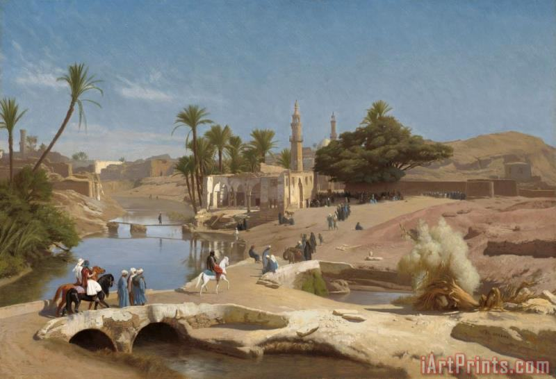 View of Medinet El Fayoum painting - Jean Leon Gerome View of Medinet El Fayoum Art Print