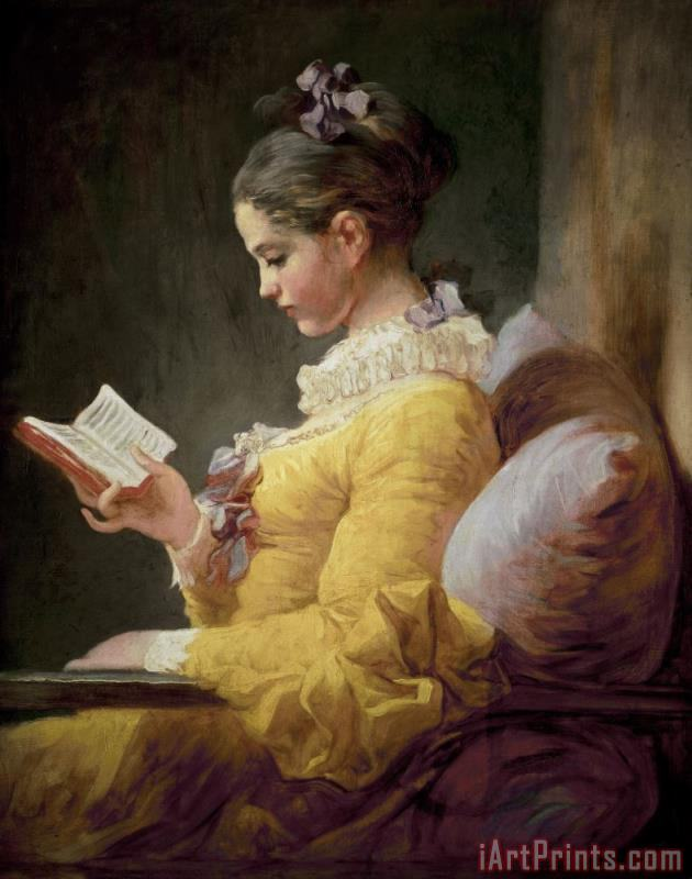 Young Girl Reading painting - JeanHonore Fragonard Young Girl Reading Art Print