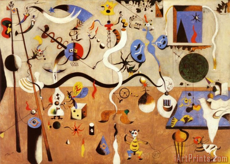 Carnival of Harlequin painting - Joan Miro Carnival of Harlequin Art Print