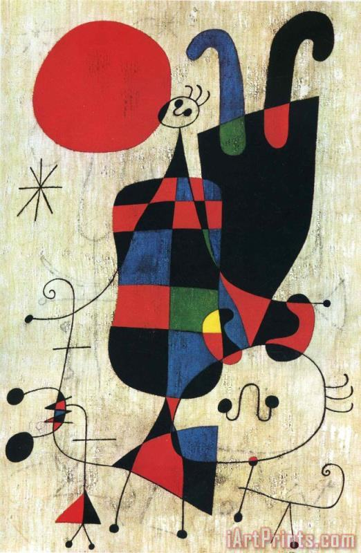 Joan Miro Figures And Dog in Front of The Sun Art Print