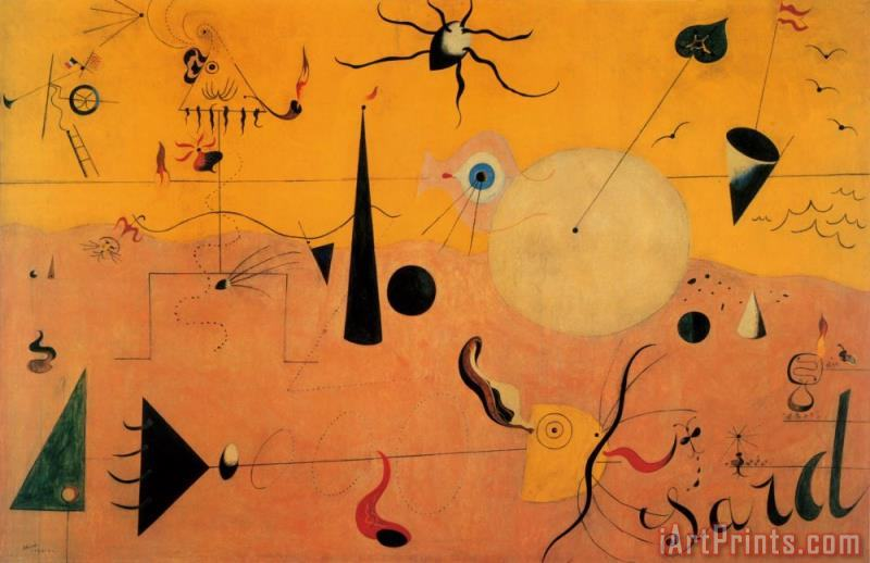 Paysage Catalan Le Chasseur C 1923 painting - Joan Miro Paysage Catalan Le Chasseur C 1923 Art Print