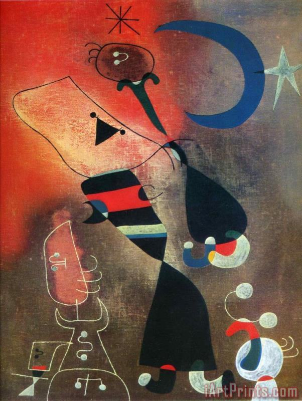 Woman And Bird in The Moonlight painting - Joan Miro Woman And Bird in The Moonlight Art Print