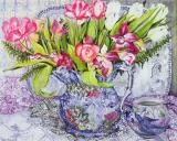 Pink And White Tulips Orchids And Blue Antique China by Joan Thewsey