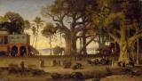 Tree Paintings - Moonlit Scene of Indian Figures and Elephants among Banyan Trees by Johann Zoffany
