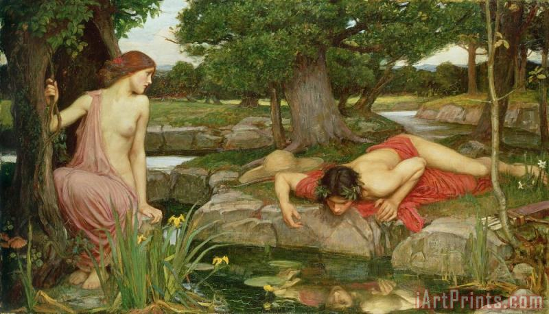 Echo and Narcissus painting - John William Waterhouse Echo and Narcissus Art Print