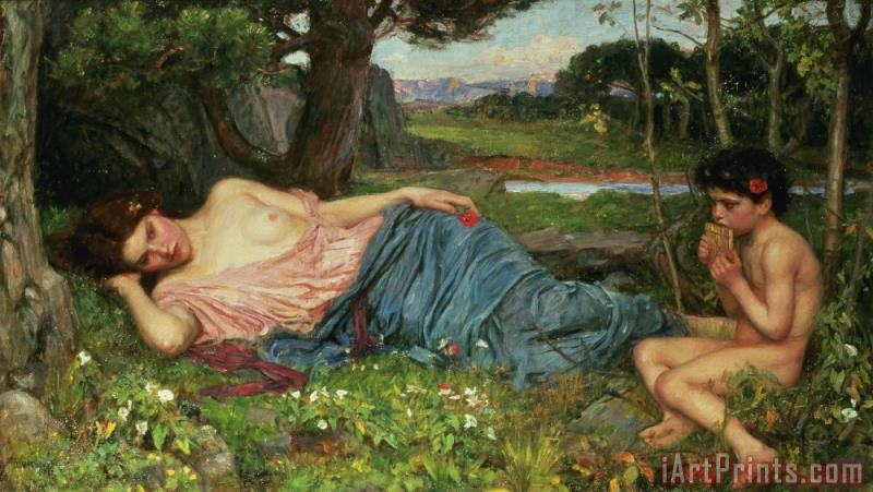 Listen to my Sweet Pipings painting - John William Waterhouse Listen to my Sweet Pipings Art Print
