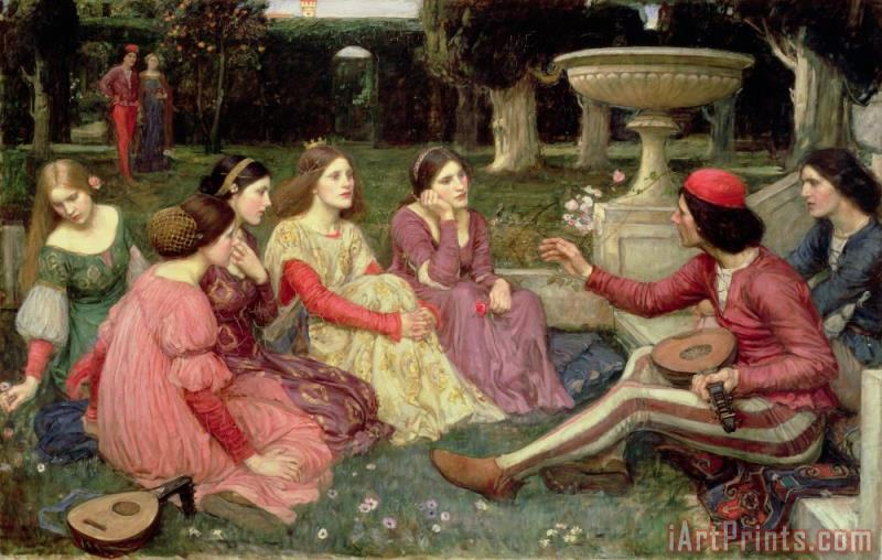The Decameron painting - John William Waterhouse The Decameron Art Print