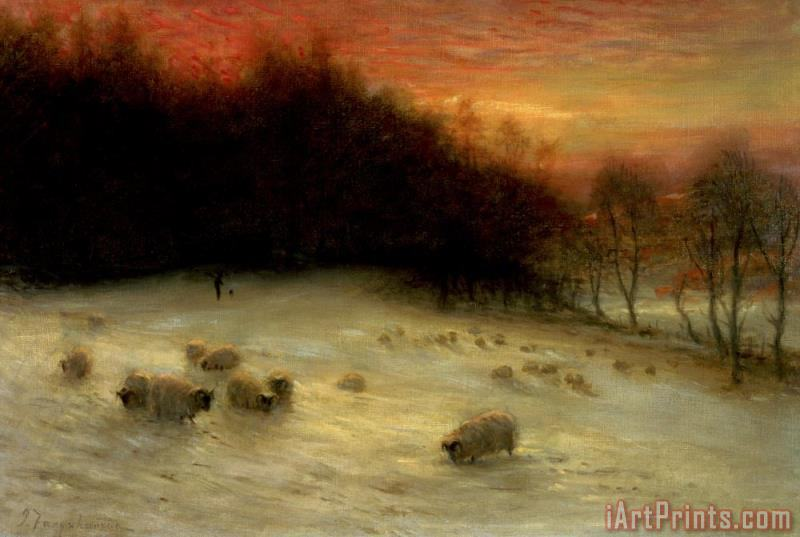 Joseph Farquharson Sheep in a Winter Landscape Evening Art Print