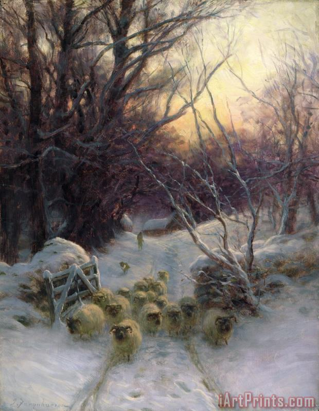 The Sun had closed the Winter Day painting - Joseph Farquharson The Sun had closed the Winter Day Art Print