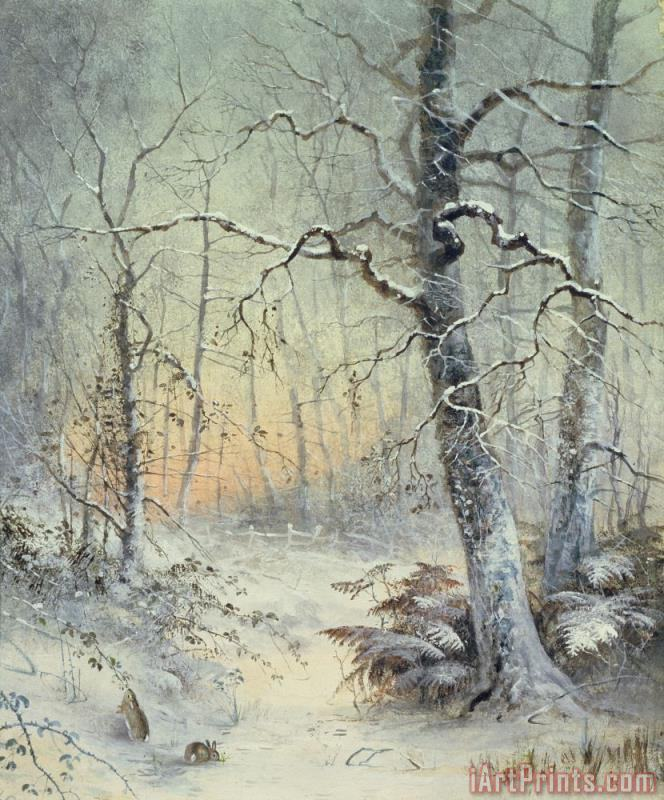 Winter Breakfast painting - Joseph Farquharson Winter Breakfast Art Print