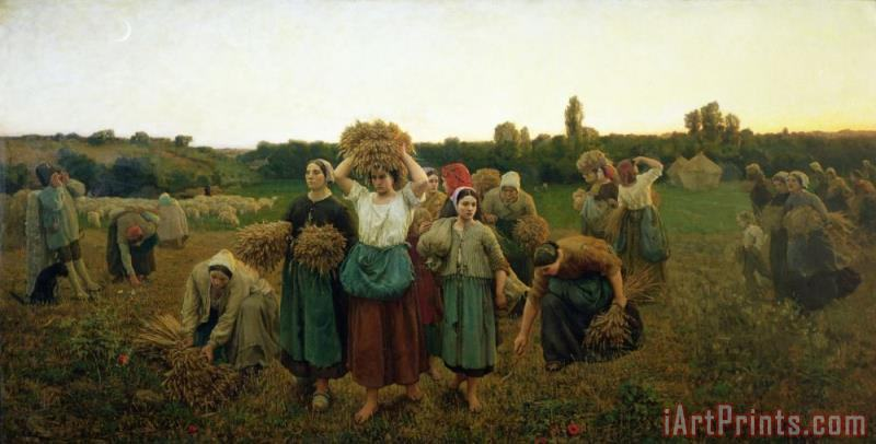 Calling in the Gleaners painting - Jules Breton Calling in the Gleaners Art Print